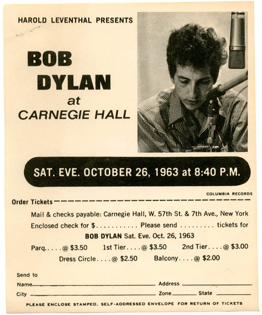 Original small flyer announcing Bob Dylan at Carnegie Hall, New York, on 26th October, 1963. Bob DYLAN.