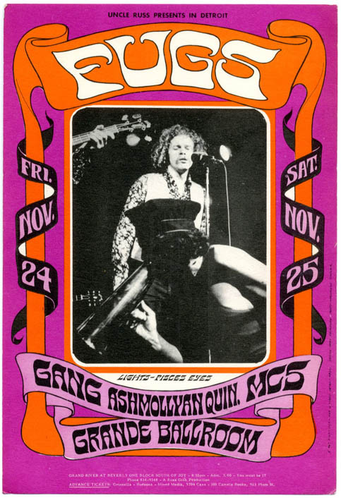 Original postcard reproducing Gary Grimshaw's poster art in miniature announcing The Fugs at the Grande Ballroom, Detroit, November 24th-25th (1967). The FUGS.