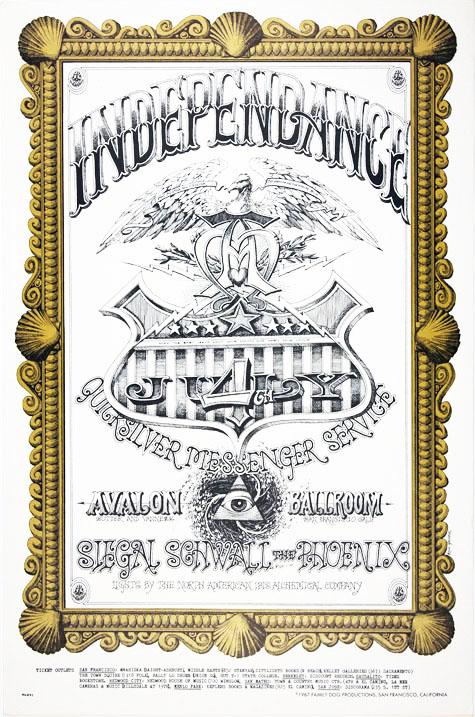 """Original poster (""""Independance"""") designed by Rick Griffin announcing Quicksilver Messenger Service at the Avalon Ballroom, July 4th, 1967 (FD69). Rick GRIFFIN."""