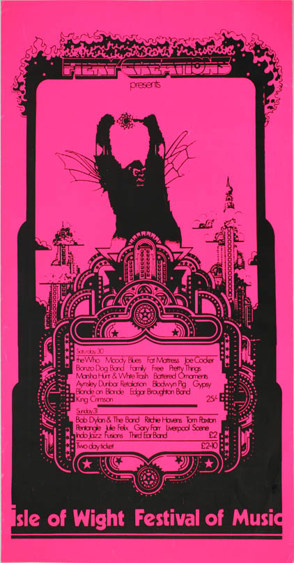 Original poster designed by David Fairbrother-Roe announcing the 1969 Isle of Wight Festival of Music. 1969 ISLE OF WIGHT FESTIVAL.