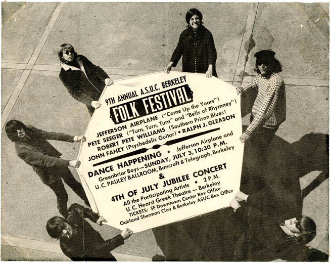 An original handbill announcing the 9th Annual Berkeley Folk Festival (July 1966), featuring a b/w photograph of the early Jefferson Airplane. JEFFERSON AIRPLANE.