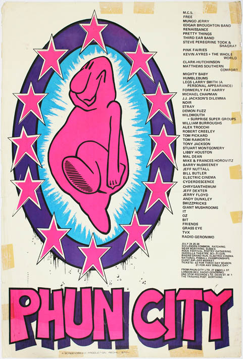 Original poster announcing the Phun City free festival held at Ecclesden Common, near Worthing in West Sussex, July 24th-26th (1970). PHUN CITY.