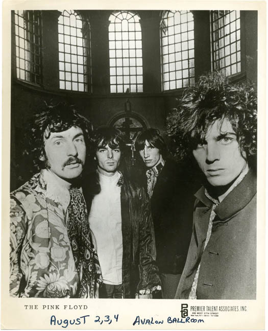 Original 10x8 b/w publicity photograph of the Pink Floyd, issued by Premier Talent Associates, Inc. of New York, with the band's August 1968 dates at the Avalon Ballroom written out in ink in the lower margin. PINK FLOYD.