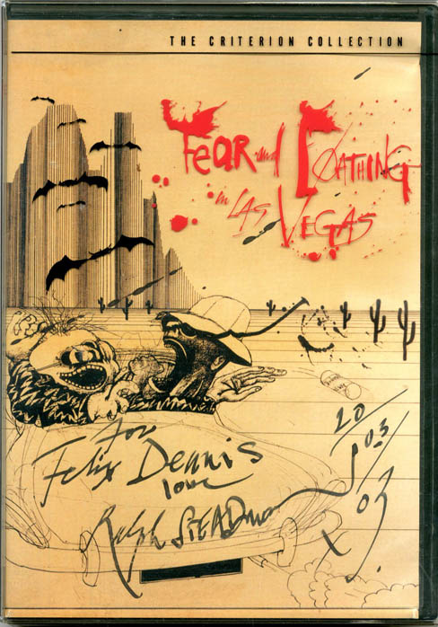 Fear and Loathing in Las Vegas. Two-disc DVD, SIGNED and inscribed by Ralph Steadman to Felix Dennis on the cover inlay + autograph card signed (100+ words), both dated by him (20th March, 2003). Ralph STEADMAN.