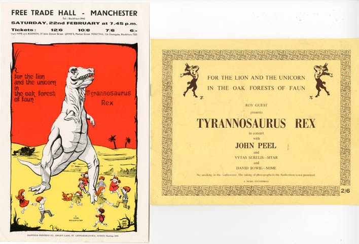 """Original flyer announcing Tyrannosaurus Rex at the Free Trade Hall, Manchester, 22nd February, 1969, together with a NEMS Enterprise programme produced for the tour (titled """"For The Lion And The Unicorn In The Oak Forests Of Faun""""), for which this concert was the fourth date. TYRANNOSURUS REX."""