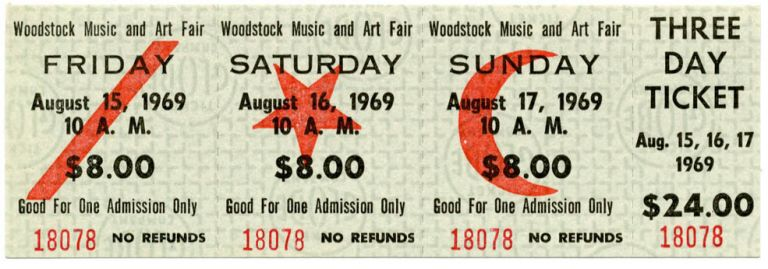 An unused three-day $24 ticket for the Woodstock Festival, Friday 15th-Sunday 17th August, 1969. WOODSTOCK FESTIVAL.