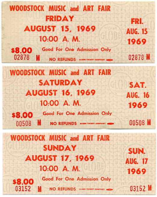 A set of three unused Woodstock Festival one-day $8 tickets, Friday 15th-Sunday 17th August, 1969. WOODSTOCK FESTIVAL.