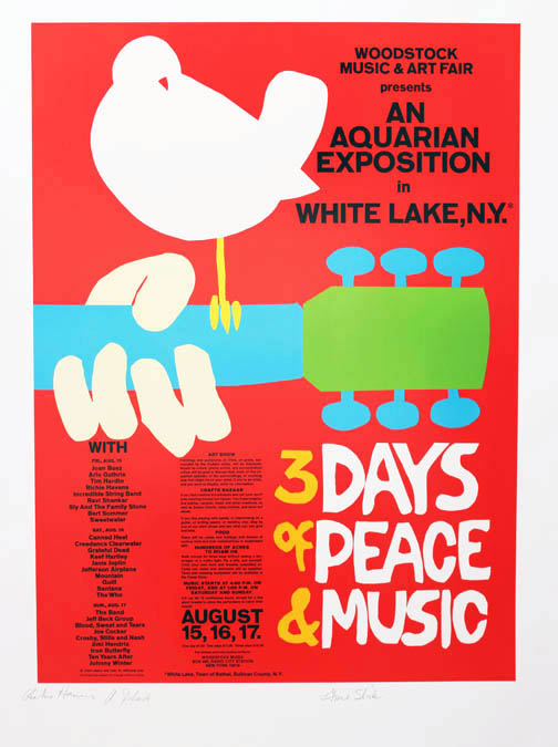 """A limited edition screenprint of Arnold Skolnick's famous poster announcing the """"Woodstock Music & Art Fair - An Aquarian Exposition in White Lake, N.Y. - 3 Days of Peace & Music"""", featuring an illustration of a white dove sitting on a guitar neck. WOODSTOCK FESTIVAL."""