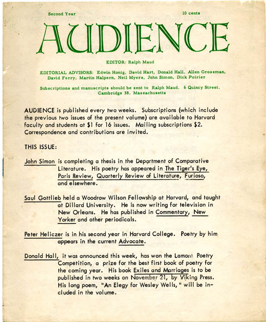 AUDIENCE Vol. II, #3 (Cambridge, Mass.: October 21, 1955).