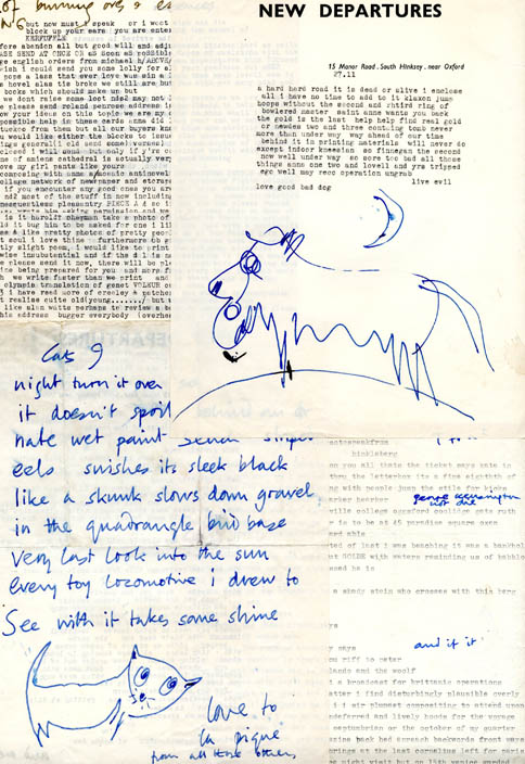 Ten typed letters, nine of them with holograph additions, drawings and other embellishments; one typed postcard; one autograph postcard; and one autograph aerogramme from Michael Horovitz to Piero Heliczer, c. May-November, 1959.