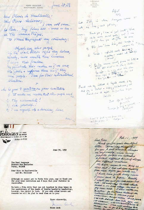 A group of three letters to Piero Heliczer, from Robert Graves, Hans Richter, and Moses Asch, each declining his invitation to attend the Purcell Festival in Paris, and one letter from Shinichi Yuize, c. 1959.