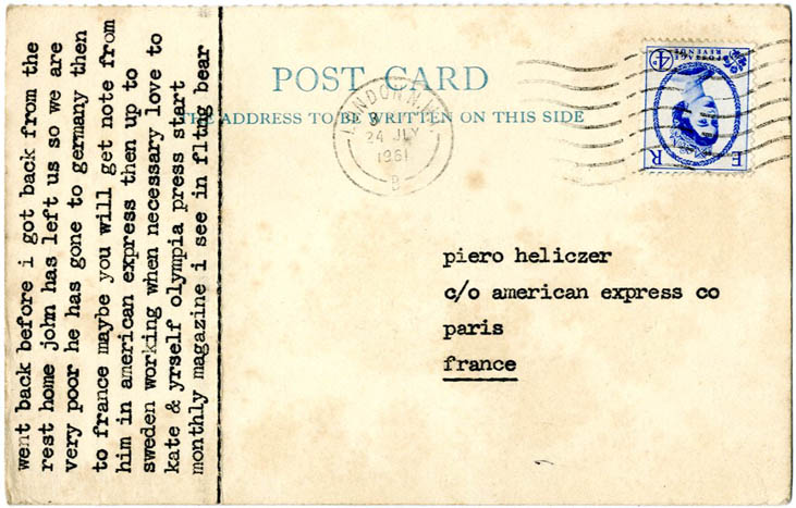 Typed postcard from Tom Raworth to Piero Heliczer, postmarked London N.W. 24 July, 1961.