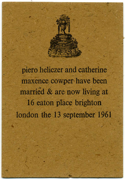 MARRIAGE & NEW ADDRESS ANNOUNCEMENT CARD.