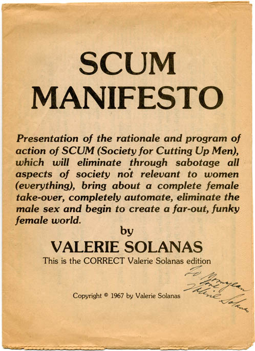 SCUM Manifesto, subtitled This is the CORRECT Valerie Solanas edition |  Valerie SOLANAS