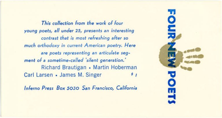 "A promotional card announcing the publication of ""Four New Poets"" Richard BRAUTIGAN."