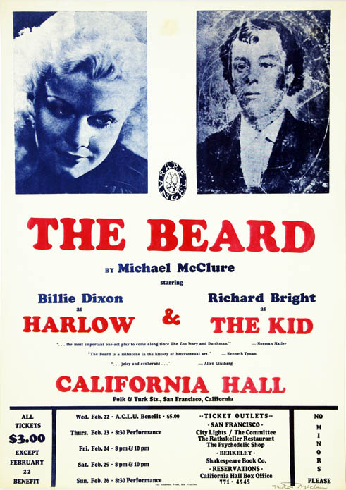 An original poster announcing performances of 'The Beard' at the California Hall, San Francisco,...