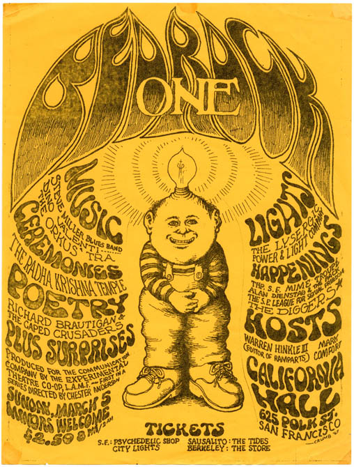 BEDROCK ONE. Original handbill designed by Robert Crumb for the Communication Company's benefit...
