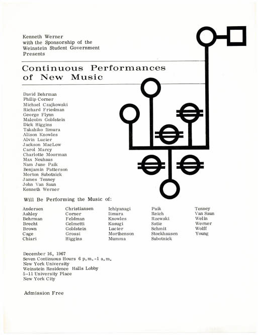 CONTINUOUS PERFORMANCES OF NEW MUSIC.
