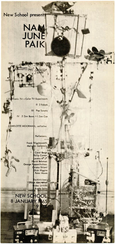 """Broadside flyer announcing """"Nam June Paik - Electronic TV + Color TV Experiments + 3 Robots + 2 Zen Boxes + 1 Zen Can"""" at the New School (for Social Research, New York), January 8, 1965. Nam June PAIK."""
