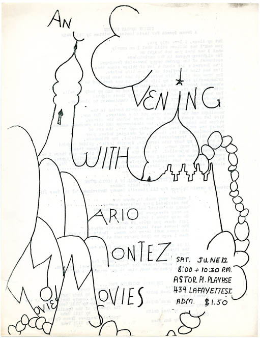 "A double-sided flyer announcing ""An Evening With Mario Montez Movies"" at the Astor Playhouse, NYC, June 12 (1965). Jack SMITH."