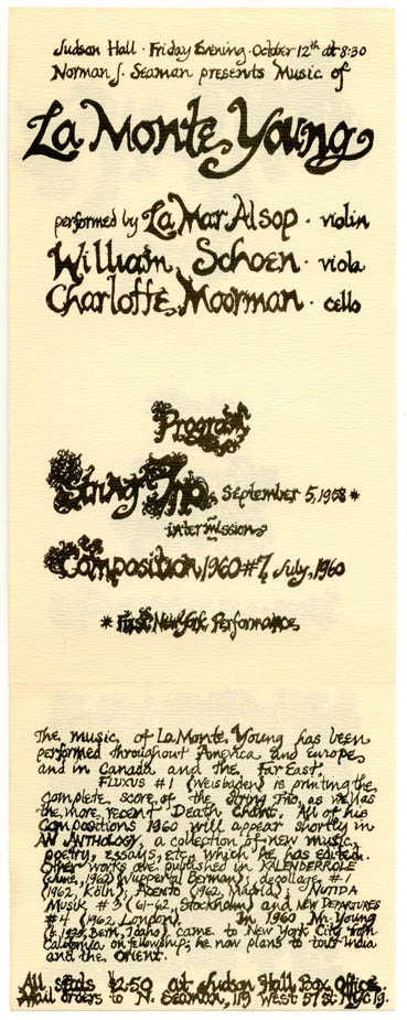 Flyer designed by Marian Zazeela announcing a concert of music by La Monte Young at the Judson...