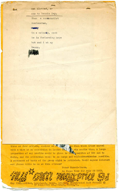 """""""The Last Words of Dutch Schultz"""" (first appearance) and """"Letter to Sunday Times"""" in MY OWN MAG #12 (Barnet, Herts: May 1965). William S. BURROUGHS, contributes."""