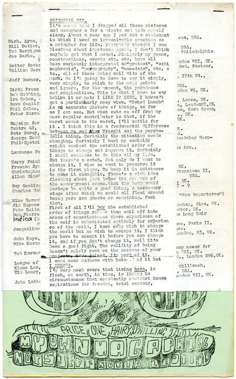 """""""Nut Note on the Column Cutup Thing"""", """"WB Talking"""", """"Quantities of the Gas Girls"""", and an untitled piece, all appearing in The Moving Times in MY OWN MAG #15 (Barnet, Herts: April 1966). William S. BURROUGHS, contributes."""