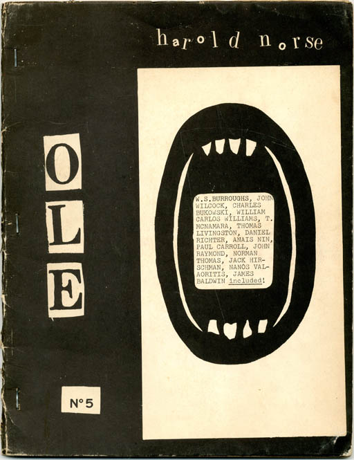 """""""From William S. Burroughs, Writing of Norse's Exhibition in Paris of Cosmographs"""" in OLE #5 - Special Harold Norse issue (Bensenville, IL: Open Skull Press, 1966). William S. BURROUGHS, contributes."""