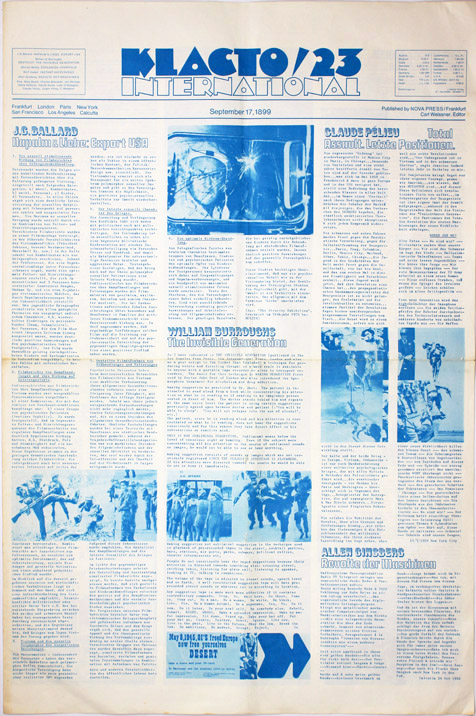 """""""Abstract"""" and """"The Invisible Generation"""", a postscript to """"The Invisible Generation (Continued)"""", in KLACTO/23 INTERNATIONAL (Frankfurt: Nova Press, Sept. 17, 1899, ie. 1969). William S. BURROUGHS, contributes."""