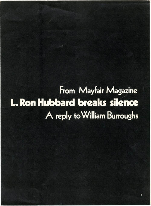 An offprint from MAYFAIR magazine Vol. 5, #6 (London: June 1970), William S. BURROUGHS, contributes.