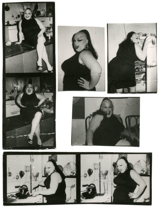 A group of 7 b/w contact sheet photographs of Divine by Billy Maynard, c.1973 + photos of Mario Montez and Silva Thin. DIVINE.