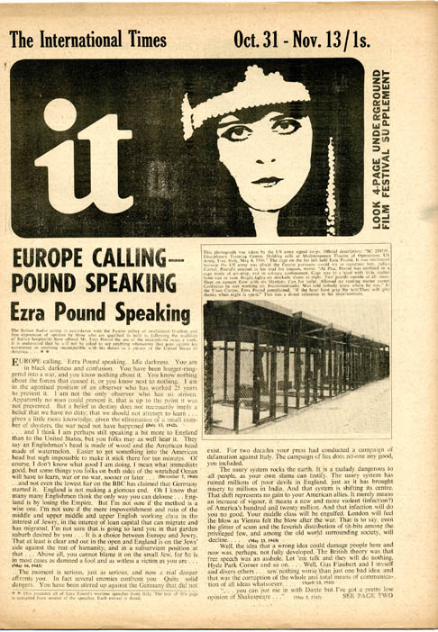 """""""Berlin… The Living Theatre"""", a short article on The Living Theatre's production of 'Frankenstein' in Berlin, accompanied by a photograph, and the first printing in English of Julian Beck's synopsis, in INTERNATIONAL TIMES #2 (London: October 31, 1966)."""