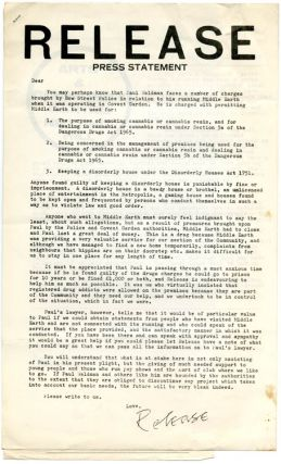 A small archive of documents from the drug advice and referral agency, Release, dating from its inception in 1967 through to its tenth anniversary.