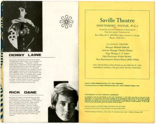 SAVILLE THEATRE. Original programme for the May 7th, 1967, concert at the Saville Theatre, featuring the first headline appearance by The Jimi Hendrix Experience at the venue.
