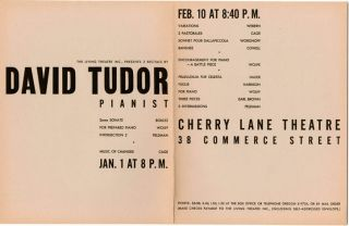 An original folded flyer/programme for two recitals by David Tudor presented by the Living Theatre at the Cherry Lane Theatre, New York City on January 1 and February 10, 1952.