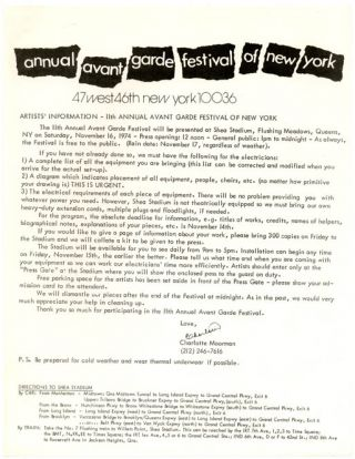 A collection of 58 original posters, flyers, programmes, press releases and other documentation and ephemera relating to the New York Avant Garde Festival, dating from its inception in 1963 through to the final event held in 1980.