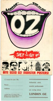 OZ #1-41 (Sydney: Oz Publications Ink Limited, April 1963-February 1969) - all published (first and last issues supplied in facsimile). Edited by Richard Neville and Richard Walsh (Walsh and Dean Letcher from #27 on), with art direction by Martin Sharp, assisted by Garry Shead, Peter Kingston, Mike Glasheen, Peter Wright, Peter Fisher and others. Magazine format, stapled, each 16pp.-22pp. (including cover). Printed letterpress (#1-11), offset from issue #12 on + OZ #1-48 (London: Oz Publications Ink Limited/H. Bunch Associates, January 1967-November 1973) - all published. Edited by Richard Neville, and (later) Felix Dennis and Jim Anderson (guest editors include John Wilcock, Germaine Greer, Paul Lawson, Andrew Fisher and Jonathon Green), with art direction by Martin Sharp, Jon Goodchild, Philippe Mora, Felix Dennis, David Wills, Richard Adams, Pearce Marchbank, Barney Bubbles and others, and photography by Bob Whitaker, Keith Morris, David Nutter, among others. Printed offset. Formats, sizes and pagination vary. A complete set of both the Sydney and London editions of Oz magazine (the first and last issues of the former supplied in facsimile). The first issue of London Oz is signed by Richard Neville and Martin Sharp on the front cover, issues #13 and #45 have been signed by artist John Hurford, and all the major inserts and almost all the numerous colour variants are present.