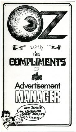 An Oz 'With the Compliments of the Advertising Manager' slip, c. 1971. OZ ADVERTISING COMPLIMENTS...