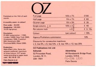 A double-sided Oz advertising rates card, printed in black on pink stock, c. 1971. OZ ADVERTISING...