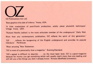 A double-sided Oz advertising rates card, printed in black on pink stock, c. 1971.