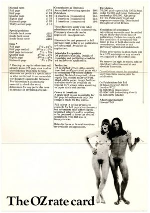 A double-sided Oz advertising rates card, c. September 1972.