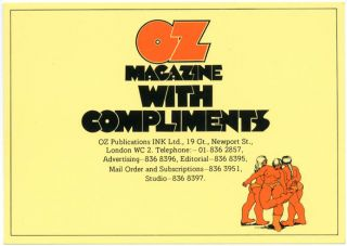 An 'Oz Magazine With Compliments' postcard designed by Richard Adams for Oz mail order, c. 1972....