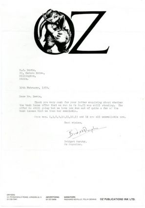 A Typed Letter Signed by Oz Secretary, Bridget Murphy, dated February 10th, 1970. OZ LETTER