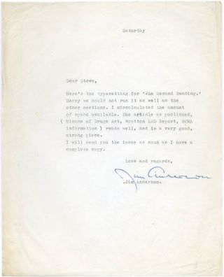A Typed Letter Signed from Jim Anderson to the cannabis rights campaigner, Steve Abrams. Nd. (c....