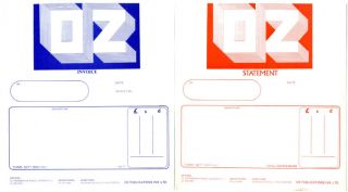 Two unused items of Oz Publications stationery, an invoice and statement, printed in blue and red...