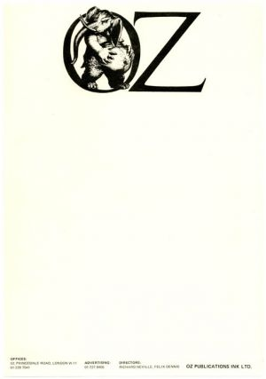 A single sheet of unused Oz Publications letterhead stationery featuring the Oz pregnant elephant...