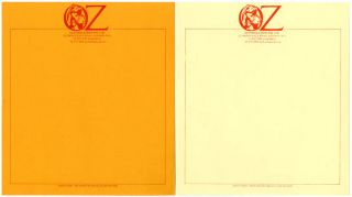 Two unused sheets of Oz Publications letterhead stationery featuring the Oz pregnant elephant...