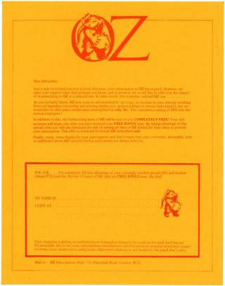 A printed Oz subscriptions letter featuring the Oz pregnant elephant logo, c. 1972. OZ SUBSCRIPTIONS