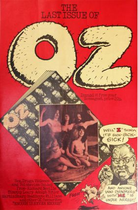 "A promotional poster announcing the last issue of Oz magazine (November 1973), promising ""Sex,..."