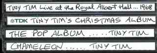 Four CDs of recordings by Tiny Tim, transferred from records or tapes by Martin Sharp, each one hand-titled and captioned in red marker pen by him, c. 2003.